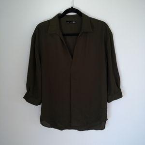 Black Tape olive green sheer blouse size M